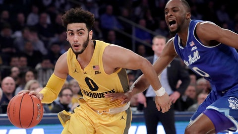 <p>               FILE - In this Friday, March 15, 2019, file photo, Marquette guard Markus Howard (0) drives past Seton Hall guard Quincy McKnight (0) during the first half of an NCAA college basketball in the Big East Conference tournament in New York. Murray State point guard Ja Morant is future NBA lottery pick. Marquette point guard Markus Howard is the Big East player of the year. Two of the top-10 scorers in the country meet in a 5-12 NCAA Tournament game in the West Region. (AP Photo/Julio Cortez, File)             </p>