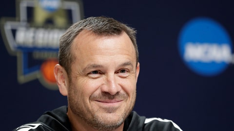<p>               Louisville head coach Jeff Walz smiles as he answers questions from the media during a news conference at the NCAA women's college basketball tournament, Thursday, March 28, 2019, in Albany, N.Y. Louisville faces Oregon State in regional semifinal game on Friday. (AP Photo/Kathy Willens)             </p>