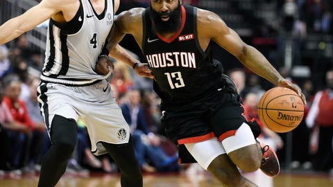 <p>               Houston Rockets guard James Harden (13) dribbles past San Antonio Spurs guard Derrick White during the second half of an NBA basketball game Friday, March 22, 2019, in Houston. Houston won 111-105. (AP Photo/Eric Christian Smith)             </p>