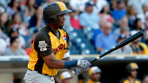 <p>               FILE - In this July 10, 2016, file photo, World Team's Eloy Jimenez hits against the U.S. Team during the seventh inning of the All-Star Futures baseball game in San Diego. A person familiar with the negotiations tells The Associated Press Wednesday, March 20, 2019, that the Chicago White Sox are nearing a $43 million, six-year contract with highly regarded outfield prospect Eloy Jimenez.  (AP Photo/Lenny Ignelzi, File)             </p>