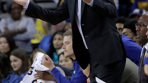 <p>               Golden State Warriors head coach Steve Kerr gestures toward officials during the second half of his team's NBA basketball game against the Phoenix Suns in Oakland, Calif., Sunday, March 10, 2019. (AP Photo/Jeff Chiu)             </p>