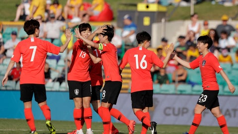 <p>               South Korea's Soyun Ji, center, is congratulated by teammates after scoring their 5th goal against Argentina during their Cup of Nations soccer game in Sydney, Thursday, Feb. 28, 2019. (AP Photo/Rick Rycroft)             </p>