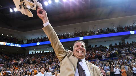 <p>               Auburn head coach Bruce Pearl celebrates his 84-80 win over Tennessee after an NCAA college basketball game Saturday, March 9, 2019, in Auburn, Ala. (AP Photo/Julie Bennett)             </p>