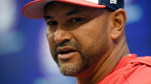 <p>               Washington Nationals manager Dave Martinez speaks to the media before an opening-day baseball game against the New York Mets, Thursday, March 28, 2019, in Washington. (AP Photo/Nick Wass)             </p>