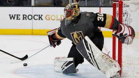 <p>               Vegas Golden Knights goaltender Malcolm Subban blocks shot by the Winnipeg Jets during the first period of an NHL hockey game Thursday, March 21, 2019, in Las Vegas. (AP Photo/John Locher)             </p>
