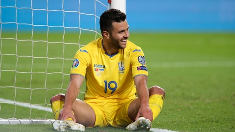 <p>               Ukraine's Junior Moraes sits on the pitch after missing a scoring chance during the Euro 2020 group B qualifying soccer match between Portugal and Ukraine at the Luz stadium in Lisbon, Friday, March 22, 2019. (AP Photo/Armando Franca)             </p>