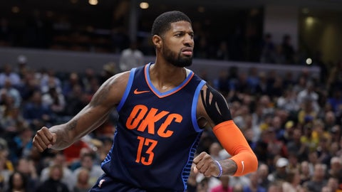 <p>               Oklahoma City Thunder's Paul George reacts after a dunk during the first half of an NBA basketball game against the Indiana Pacers, Thursday, March 14, 2019, in Indianapolis. (AP Photo/Darron Cummings)             </p>