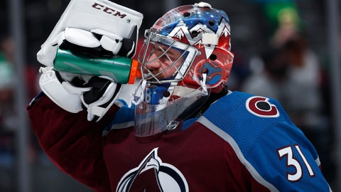 <p>               Colorado Avalanche goaltender Philipp Grubauer takes a drink during a timeout during the second period of the team's NHL hockey game against the New Jersey Devils on Sunday, March 17, 2019, in Denver. (AP Photo/David Zalubowski)             </p>
