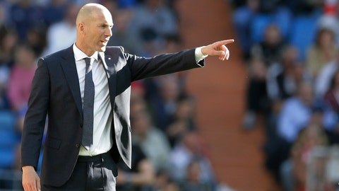 <p>               Real Madrid's coach Zinedine Zidane gestures during a Spanish La Liga soccer match between Real Madrid and Celta at the Santiago Bernabeu stadium in Madrid, Spain, Saturday, March 16, 2019.(AP Photo/Paul White)             </p>
