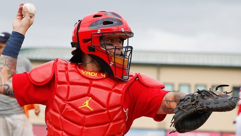 <p>               St. Louis Cardinals catcher Yadier Molina (4) works out before an exhibition spring training baseball game against the Houston Astros on Saturday, March 9, 2019, in Jupiter, Fla. (AP Photo/Brynn Anderson)             </p>