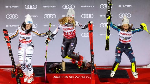 <p>               United States' Mikaela Shiffrin, center, winner of an alpine ski World Cup women's parallel slalom city event, celebrates on the podium with second-placed Germany's Christina Geiger, left, and third-placed Sweden's Anna Swenn Larsson, in Hammarbybacken, Stockholm, Sweden, Tuesday, Feb. 19, 2019. (Christine Olsson/TT via AP)             </p>