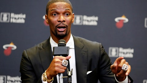 <p>               Former Miami Heat player Chris Bosh speaks at a press conference before the team's retirement of his jersey at halftime of an NBA game between the Heat and the Orlando Magic, Tuesday, March 26, 2019, in Miami. Bosh played 13 seasons, the first seven in Toronto and the last six in Miami. He averaged 19.2 points and 8.5 rebounds, was an All-Star 11 times and won two championships. (AP Photo/Joe Skipper)             </p>