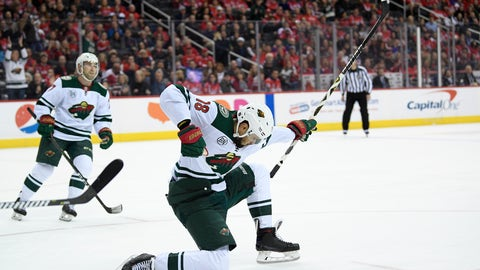 <p>               Minnesota Wild left wing Jordan Greenway (18) celebrates his goal during the first period of the team's NHL hockey game against the Washington Capitals, Friday, March 22, 2019, in Washington. At left is Wild defenseman Brad Hunt. (AP Photo/Nick Wass)             </p>