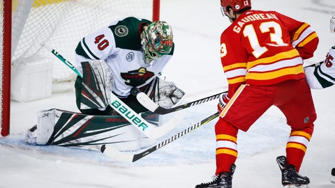 <p>               Minnesota Wild goalie Devan Dubnyk, left, stops a shot as Calgary Flames' Johnny Gaudreau watches during the first period of an NHL hockey game Saturday, March 2, 2019, in Calgary, Alberta. (Jeff McIntosh/The Canadian Press via AP)             </p>