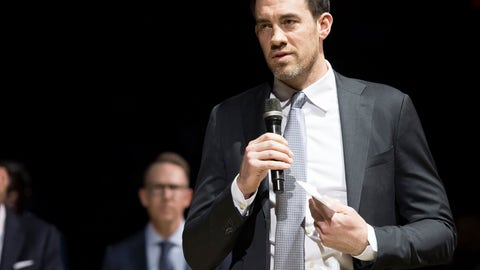 <p>               Former Oklahoma City Thunder player Nick Collison speaks during a ceremony to retire his number, before an NBA basketball game between the Thunder and the Toronto Raptors on Wednesday, March 20, 2019, in Oklahoma City. (AP Photo/Rob Ferguson)             </p>