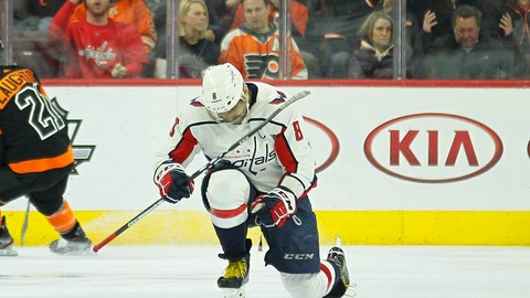 <p>               Washington Capitals' Alex Ovechkin celebrates his power play goal during the second period of an NHL hockey game against the Philadelphia Flyers, Wednesday, March 6, 2019, in Philadelphia. (AP Photo/Tom Mihalek)             </p>