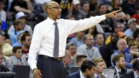 <p>               Central Florida coach Johnny Dawkins points during the team's first-round game against VCU in the NCAA men's college basketball tournament Friday, March 22, 2019, in Columbia, S.C. (AP Photo/Richard Shiro)             </p>