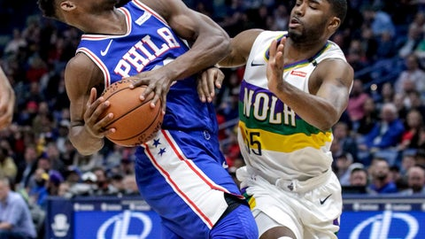 <p>               Philadelphia 76ers guard Jimmy Butler (23) drives against New Orleans Pelicans guard E'Twaun Moore (55) in the first half of an NBA basketball game in New Orleans, Monday, Feb. 25, 2019. (AP Photo/Scott Threlkeld)             </p>