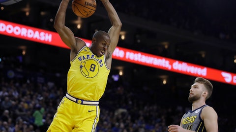 <p>               Golden State Warriors' Andre Iguodala (9) scores next to Indiana Pacers' Domantas Sabonis during the second half of an NBA basketball game Thursday, March 21, 2019, in Oakland, Calif. (AP Photo/Ben Margot)             </p>