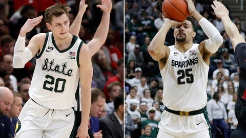 <p>               FILE - At left, in a March 16, 2019, file photo, Michigan State's Matt McQuaid (20) reacts after shooting a 3-point basket during the first half of an NCAA college basketball game against Wisconsin in the semifinals of the Big Ten Conference tournament, in Chicago. At right, in a Feb. 20, 2019, file photo, Michigan State forward Kenny Goins shoots during the second half of an NCAA college basketball game, in East Lansing, Mich. Big Ten champion Michigan State is seeded second in the NCAA Tournament in part because seniors Matt McQuaid and Kenny Goins have gone from being role players to standouts.(AP Photo/File)             </p>