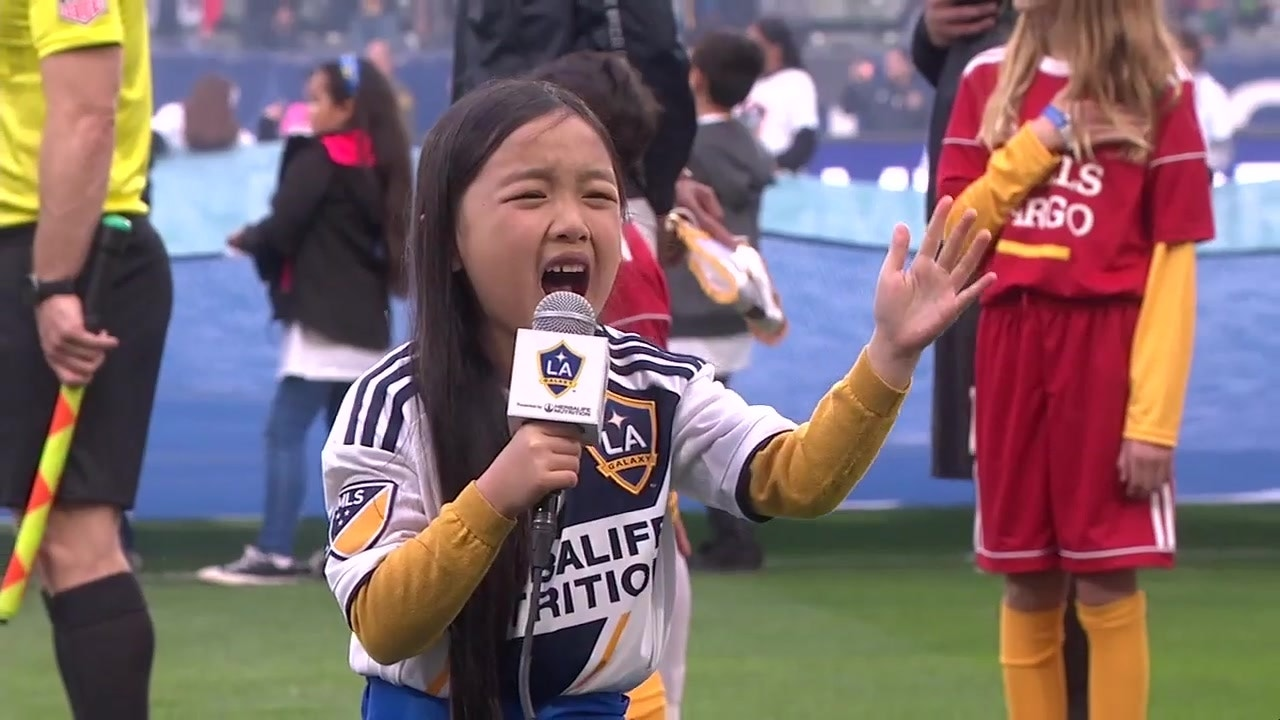 Watch Seven-year-old Malea Emma deliver another amazing rendition of the  national anthem before the LA Galaxy's season opener