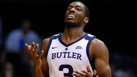 Mar 5, 2019; Indianapolis, IN, USA; Butler Bulldogs guard Kamar Baldwin (3) reacts after a call late in the second half against the Xavier Musketeers at Hinkle Fieldhouse. Mandatory Credit: Thomas J. Russo-USA TODAY Sports