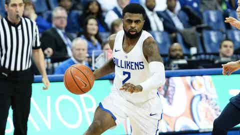 Senior Billikens guard Tramaine Isabell Jr., March 6, 2019, SLU win over Duquesne at Chaifetz Arena in St. Louis.