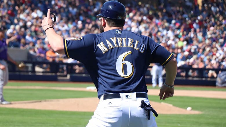 Who's on first? Browns QB Mayfield takes turn as Brewers 1B coach