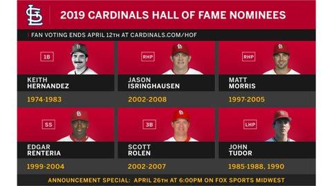 Cardinals Hall of Fame 2019 nominees: Keith Hernandez, Jason Isringhausen, Matt Morris, Edgar Renteria, Scott Rolen, John Tudor.