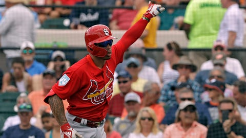 St. Louis Cardinals' Kolten Wong celebrates his home run off Detroit Tigers starting pitcher Michael Fulmer during the first inning of a spring training baseball game Monday, March 4, 2019, in St. Petersburg, Fla. (AP Photo/Chris O'Meara)