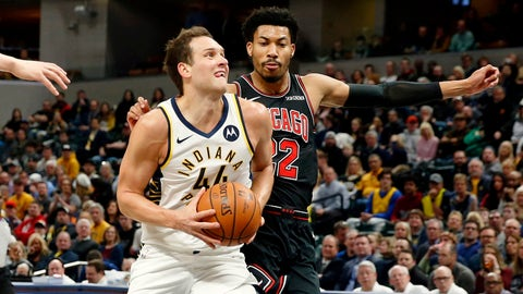 Mar 5, 2019; Indianapolis, IN, USA; Indiana Pacers forward Bojan Bogdanovic (44) drives to the basket against Chicago Bulls forward Otto Porter Jr. (22) during the first quarter at Bankers Life Fieldhouse. Mandatory Credit: Brian Spurlock-USA TODAY Sports
