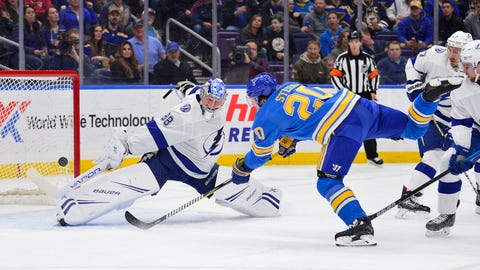 Mar 23, 2019; St. Louis, MO, USA; St. Louis Blues left wing Alexander Steen (20) shoots and scores against Tampa Bay Lightning goaltender Andrei Vasilevskiy (88) during the first period at Enterprise Center. Mandatory Credit: Jeff Curry-USA TODAY Sports