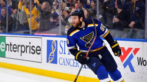 Mar 25, 2019; St. Louis, MO, USA; St. Louis Blues center Ryan O'Reilly (90) celebrates after scoring during the second period against the Vegas Golden Knights at Enterprise Center. Mandatory Credit: Jeff Curry-USA TODAY Sports