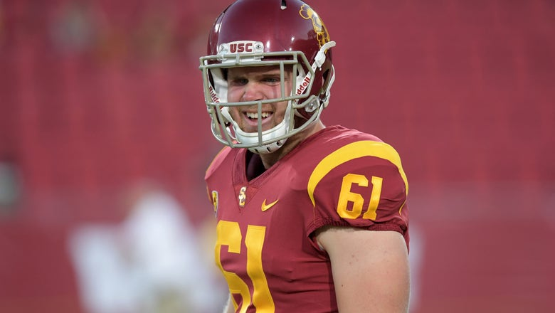 Jake Olson benches 17 reps at USC Pro Day for charity