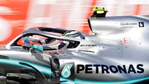 <p>               Mercedes driver Valtteri Bottas of Finland steers his car during the Formula One Grand Prix at the Baku Formula One city circuit in Baku, Azerbaijan, Sunday, April 28, 2019. (AP Photo/Sergei Grits)             </p>