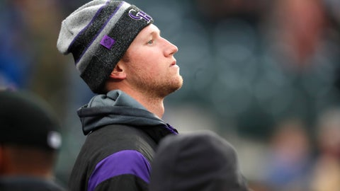 <p>               Colorado Rockies starting pitcher Kyle Freeland looks on from the dugout in the first inning of a baseball game against the Washington Nationals, Monday, April 22, 2019, in Denver. Freeland was put on the injured list Monday. (AP Photo/David Zalubowski)             </p>