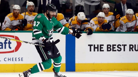 <p>               Dallas Stars right wing Alexander Radulov celebrates his goal as players on the Nashville Predators bench watch during the first period of Game 4 in an NHL hockey first-round playoff series in Dallas, Wednesday, April 17, 2019. (AP Photo/Tony Gutierrez)             </p>