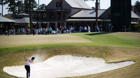<p>               Emma Spitz, of Austria, hits out of the bunker on the 18th hole during the first round of the Augusta National Women's Amateur golf tournament at Champions Retreat in Evans, Ga., Wednesday, April 3, 2019. (AP Photo/David Goldman)             </p>