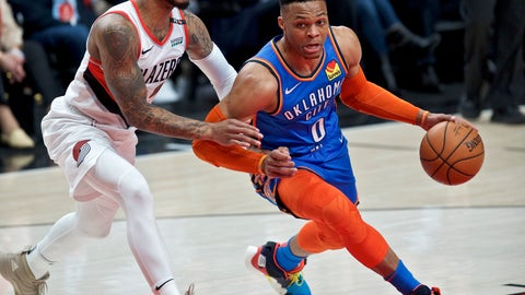 <p>               Oklahoma City Thunder guard Russell Westbrook, right, dribbles past Portland Trail Blazers guard Damian Lillard during the first half of Game 2 of an NBA basketball first-round playoff series Tuesday, April 16, 2019, in Portland, Ore. (AP Photo/Craig Mitchelldyer)             </p>