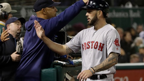 <p>               Boston Red Sox's Blake Swihart, right, is congratulated by manager Alex Cora after hitting a home run against the Oakland Athletics during the fifth inning of a baseball game in Oakland, Calif., Wednesday, April 3, 2019. (AP Photo/Jeff Chiu)             </p>