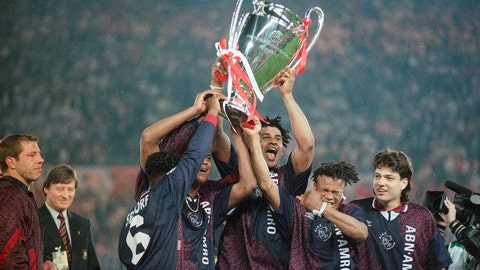 <p>               FILE - In this Wednesday, May 24, 1995 file photo, Ajax players Clarence Seedorf, left, Frank Rijkaard, center, and Edgar Davids, right, hold the Champions League European Cup Trophy Aloft as they celebrate their 1-0 victory over AC Milan in Vienna. Ajax is a team that many soccer fans around the world just love to love, especially when they win with flair in a competition like the Champions League. Their victory against Juventus on Tuesday, April 16 - coming only a few weeks after the team eliminated three-time defending champion Real Madrid in the last 16 - put Ajax through to the semifinals 3-2 on aggregate. They will next face either Manchester City or Tottenham. (AP Photo/Luca Bruno, file)             </p>