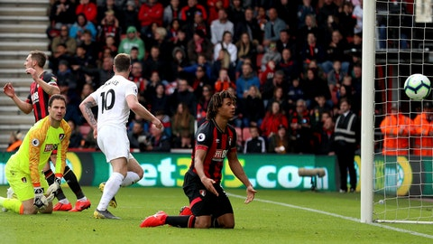 <p>               Burnley's Ashley Barnes, center, scores against Bournemouth during the English Premier League soccer match against Bournemouth at the Vitality Stadium, Bournemouth, England, Saturday April 6, 2019. (Andrew Matthews/PA via AP)             </p>