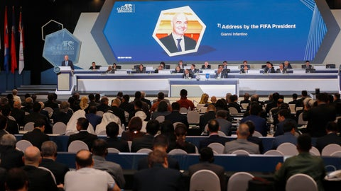 <p>               FIFA President Gianni Infantino, left, on stage speaks during the 29th AFC Congress in Kuala Lumpur, Malaysia, Saturday, April 6, 2019. The Asian Football Confederation holds its presidential election on Saturday. (AP Photo/Vincent Thian)             </p>