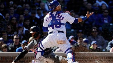 <p>               Arizona Diamondbacks' Christian Walker, left, scores against Chicago Cubs catcher Willson Contreras during the sixth inning of a baseball game Saturday, April 20, 2019, in Chicago. (AP Photo/Nam Y. Huh)             </p>