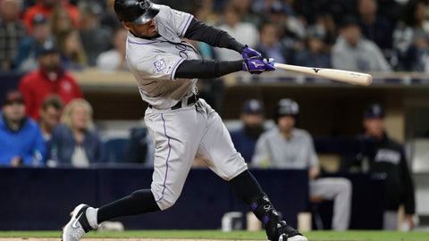 <p>               Colorado Rockies' Ian Desmond hits a home run during the seventh inning of a baseball game against the San Diego Padres, Monday, April 15, 2019, in San Diego. (AP Photo/Gregory Bull)             </p>