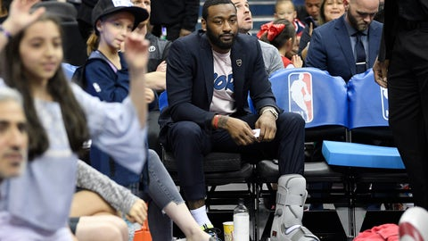 <p>               Washington Wizards' John Wall (2) sits on the bench during a timeout in the second half of the team's NBA basketball game against the Boston Celtics, Tuesday, April 9, 2019, in Washington. The Celtics won 116-110. (AP Photo/Nick Wass)             </p>