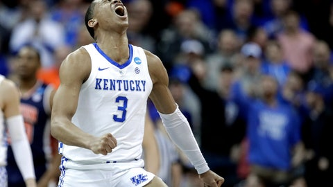 <p>               Kentucky's Keldon Johnson celebrates during the second half of the Midwest Regional final game against Auburn in the NCAA men's college basketball tournament Sunday, March 31, 2019, in Kansas City, Mo. (AP Photo/Charlie Riedel)             </p>