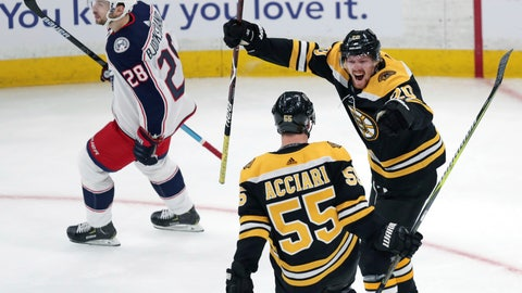 <p>               Boston Bruins center Noel Acciari (55) is congratulated by Joakim Nordstrom, right, after his goal against the Columbus Blue Jackets during the first period of Game 1 of an NHL hockey second-round playoff series, Thursday, April 25, 2019, in Boston. At left is Columbus Blue Jackets right wing Oliver Bjorkstrand (28). (AP Photo/Charles Krupa)             </p>