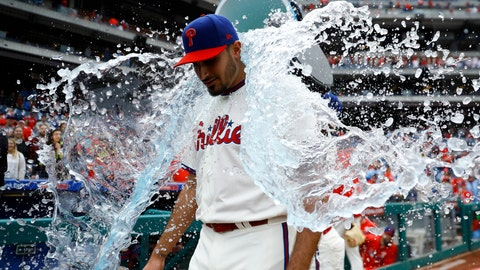 <p>               Philadelphia Phillies starting pitcher Zach Eflin is doused by Jean Segura after pitching a complete baseball game against the Miami Marlins, Sunday, April 28, 2019, in Philadelphia. (AP Photo/Matt Slocum)             </p>