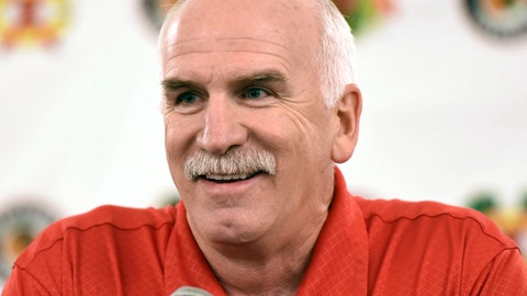 <p>               FILE - In this July 21, 2017 file photo, Chicago Blackhawks' head coach Joel Quenneville speaks at a news conference during the NHL hockey team's convention in Chicago. Quenneville — who is second on the NHL's all-time victory list — was hired Monday, April 8, 2019, to coach the Florida Panthers. (AP Photo/G-Jun Yam, File)             </p>